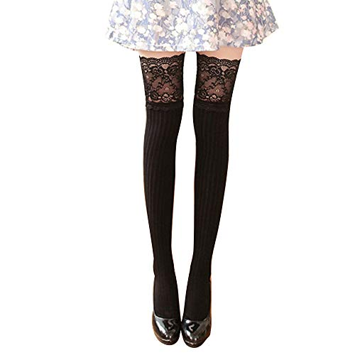 Allywit Women's Long Boot Socks Lace Trim Thigh High Over The Knee Socks Cotton Warm Stockings for Best Gift (Black)