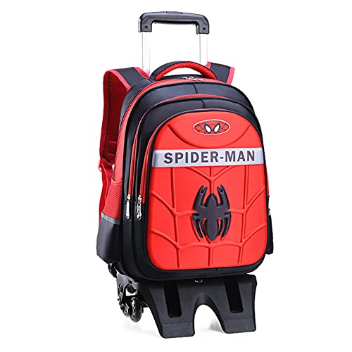 MYYLY Ragazzo Trolley Scuola Zaino Spiderman 6 Ruote Bambini Supereroe Regalo Personaggio Mano Pull Rod Satchel da Picnic All'aperto,Red-6 Wheel
