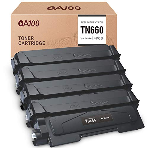 OA100 Compatible Toner Cartridge Replacement for Brother TN660 TN630 TN-630 for HL-L2380DW HL-L2340DW HL-L2300D HL-L2320D MFC-L2740DW MFC-L2700DW MFC-L2720DW DCP-L2540DW (Black, High Yield, 4-Pack)