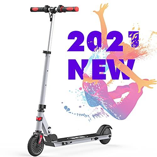 RCB Monopattino Scooter Elettrico Pieghevole Regolabile per Bambini, velocità Massima 20 km/h, 150W Manubrio Antiscivolo con Adesivo Riflettente IP4 Impermeabile Leggero