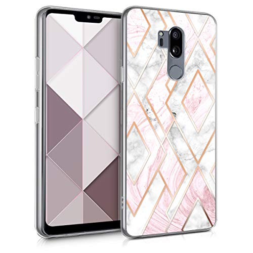 kwmobile LG G7 ThinQ/Fit/One Hülle - Handyhülle für LG G7 ThinQ/Fit/One - Handy Case in Glory Mix Marmor Design Rosegold Weiß Altrosa