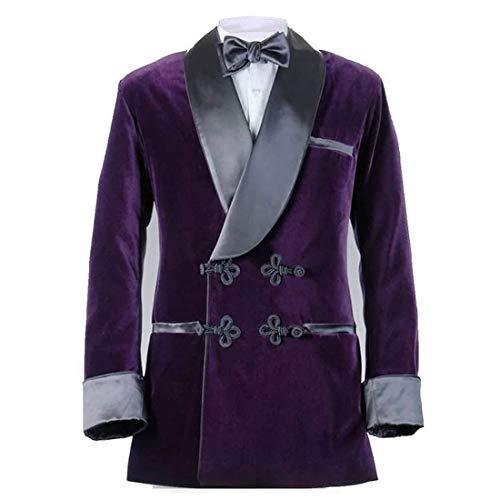 Abruzzomaster Men Black Smoking Jacket Designer Stylish Wedding Party Tuxedo Blazer Coat (Purple, XXXL=48R)