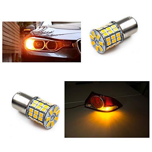 PA Lot de 2 ampoules LED haute puissance 49SMD 2835 + puce 5730 LED pour feux de freinage, feux de recul (broches décalées Ba15s, jaune).