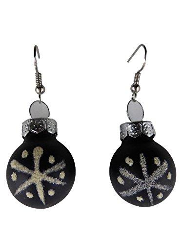 Handgemacht Weihnachtschmuck Ohrringe Weihnachten Schmuck Hänger Christbaumkugel Weihnachtskugel Baumschmuck schwarz Schnee Stern K290
