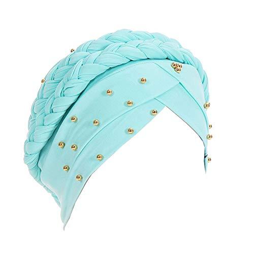 Amorar Frauen Stretch Head Wrap Friesen Hijab Cap Kopftuch Wrap Kopfbedeckung Hut Milch Seide Indian Bonnet Headwear Chemo Turban Sonnenhut Kopfbedeckung mit Langen Braid,EINWEG Verpackung