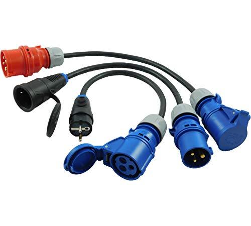 NWP Adapter SET 3-teilig 3-Pol CEE Stecker Kupplung auf 5-Pol CEE Stecker Schuko Stecker Kupplung 16A - 3x2,5mm² - IP44 - Camping, Caravan, Märkte