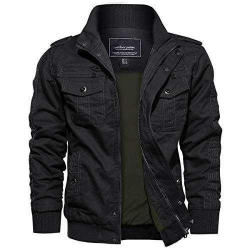 EKLENTSON Herren Arbeitsjacke Workwear Übergangsjacke Cargo Jacke mit Vielen Taschen Schwarz, M
