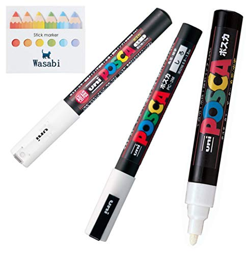 3 kinds of Uni Posca ?WHITE? Paint Marker Pen Extra Fine 0.7mm/Fine Point 0.9-1.3mm/Medium Point 1.8-2.5mm & Our Shop Sticky note/VALUE SET!!!