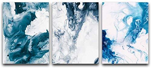 Daapplok Pintura Conjunto de 3 piezas Lienzo Arte Mármol Patrón Nube Resumen Cuadro de la pared Cartel Imprimir Cuadros de la pared Decoración de la sala de estar con marco