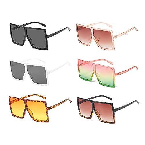 6 Pack Wholesale Large Square Oversized Sunglasses for Women Men Trendy Bulk Flat Top Fashion Big Shades