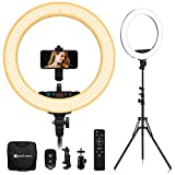 Yesker Advanced 18-inch LED Ringlight Support Manual Touch Control Screen, Wireless Remote Controller 3200-5500K, Ring Light Stand Included for Makeup Video Shooting Blogger Salon, Selfie