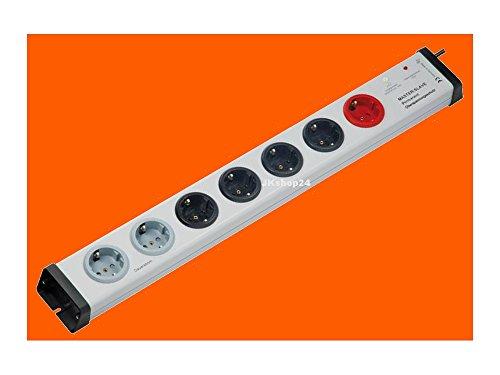 5+2 Fach Master-Slave Steckdosenleiste 1/4-MasterSlave-Funktion + 2 permanent-Steckdosen + Überspannungsschutz Typ3 | 250 V/AC max. 3.600 W