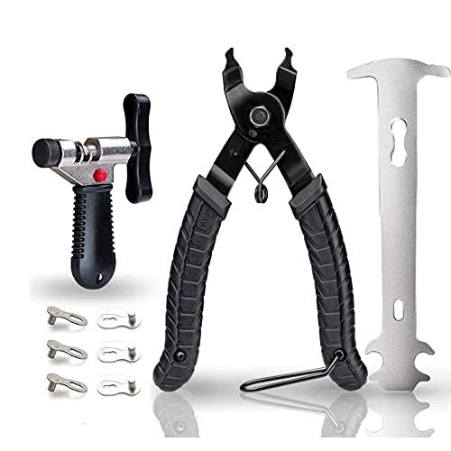 tEEZErshop Fahrrad Kettenwerkzeug,Kettenschloss Zange + Fahrradketten Nietwerkzeug +Ketten Prüfer+ 3 Paar Fahrrad fehlt Link für 7 8 9 10 Fach Fahrradkette (schwarz)