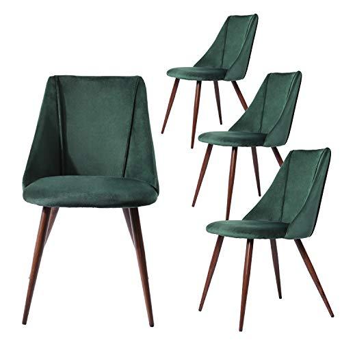 LiePu Set di 4 Sedie Sala da Pranzo in Tessuto Velluto Vintage, Sedie da Cucina Imbottita Pranzo con Gambe in Metallo per Soggiorno, Verde Scuro