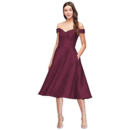 David's Bridal Off-The-Shoulder Tea-Length Bridesmaid Dress Style F19743, Wine, 2