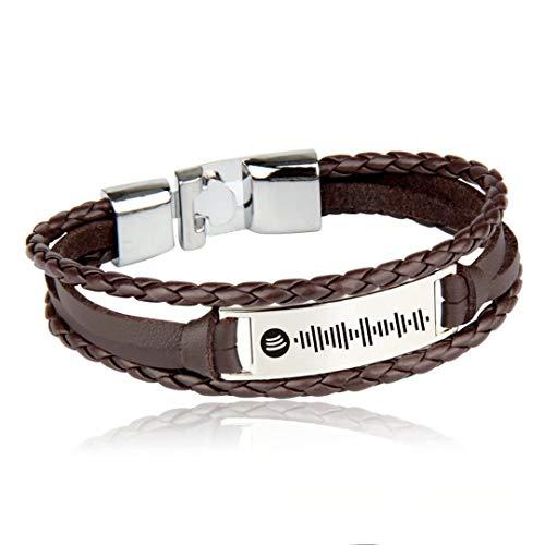 Personalized Music Spotify Code Bracelet for Men Women Custom Spotify Couple Musical Bracelet Stainless Steel Custom Song Code Ankle Link Bar Leather Bracelet Jewelry Gift