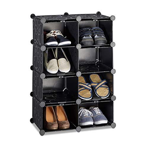 Relaxdays Meuble chaussures rangement 8 casiers plastique chaussures modulable DIY HxlxP: 77x54x37 cm, noir