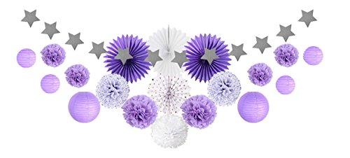 SUNBEAUTY Decoration Mariage Violet et Blanc Chambre Deco Bapteme Papier de Soie Pompon Rosace Lampion Boule Chinoise