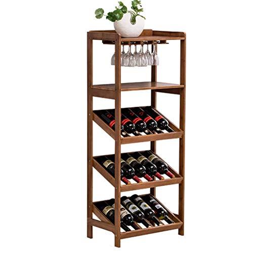Großes Weinregal Freistehende Holzregal-Standhalter-Displayregale wackelfrei Massivholz 15 Flaschen Kapazität