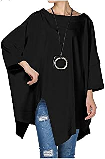 Mordenmiss Women's Plus Size Shirt Pullover Tunic Tops Asymmetry Tees Blouse