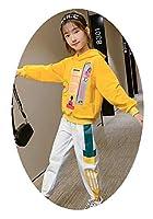 ガールズツーピーススーツセットフード付きスポーツウェア、春と秋の服、文字印刷付き、キッズカジュアル、ピンク、イエロー110cm-160cm yellow-L