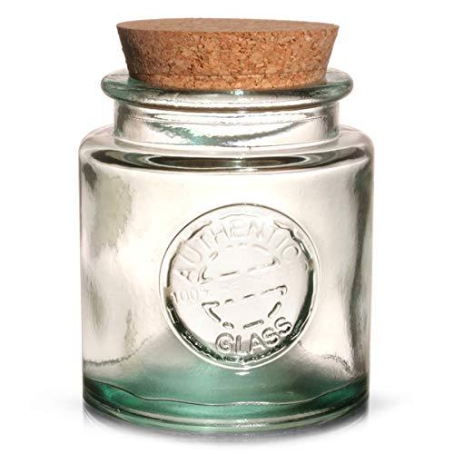 Autentico barattolo in vetro riciclato con coperchio in sughero, 250 ml, stile vintage, 100% vetro verde riciclato.