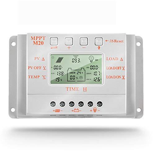 SolaMr Regulador de Carga Solar MPPT 20A 12V/24V con Identificación Automática - 10A 20A 30A