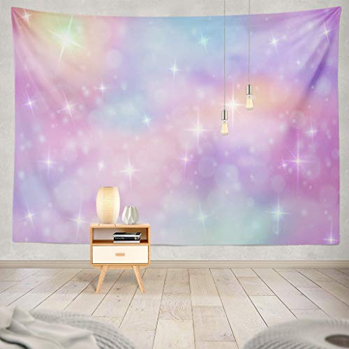 Pakaku Watercolor-Mermaid Decorative Tapestry Unicorn Fantasy Rainbow Sky with Glittering Stars Wall Hanging Tapestry 100 Polyester 80 L X 60 Wfor Bedroom Living Kids Girls Boys Room