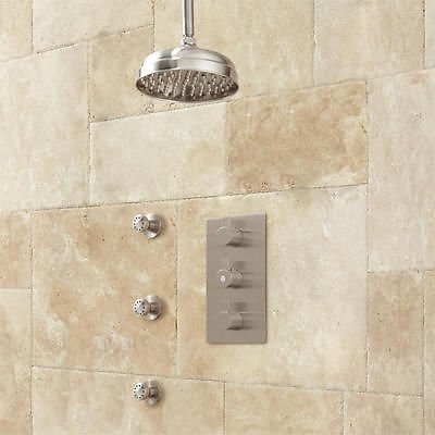 For Sale! 10 inch Oil Rubbed Bronze Finish Ceiling Mount Shower System Rainfall Shower Head -3 Body ...