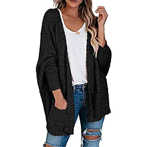 ZFQQ Otoño/Invierno Prendas de Punto Casuales para Mujer Color Puro Terciopelo granulado Doble Bolsillo cárdigan suéter Chaqueta