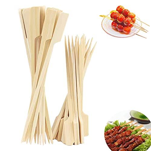 Paddle Pick- Bamboo Pick Spiedini- Cocktail Picks Stuzzicadenti Antipasti Spiedini per Kabobs- Bastoncini di bambù usa e getta- Per cocktail, antipasti, frutta, panini, barbecue, snack (15 cm)