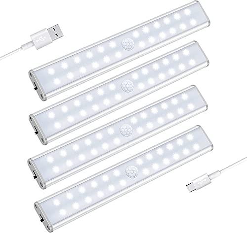 24 DIRIGIÓ Armario inalámbrico Luces de cabina Luz de luz 4 Modos Sensor de movimiento Batería Desarrollado USB Luces recargables con luces de noche magnéticas de armario para escaleras (paquete de 4)