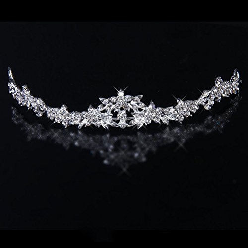 PIXNOR étincelants pour mariage ou bal de tiare Crown strass Cristal Décor bandeau voile diadème Argenté