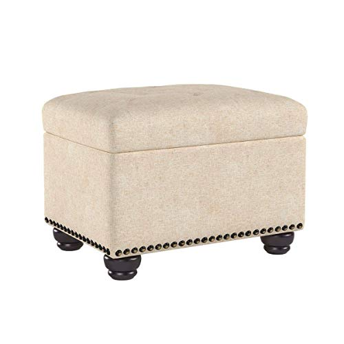 First Hill Fifth Avenue Tan 5th Ave Modern Linen Upholstered Storage Ottoman