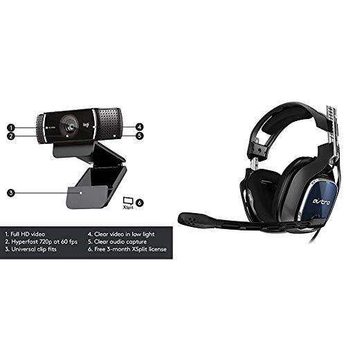 Logitech C922 PRO Webcam mit Stativ, Full-HD 1080p, Autofokus, Belichtungskorrektur, USB-Anschluss +Astro Gaming A40 TR Gaming-Headset mit Kabel, Gen 4, Astro Audio V2, Dolby Atmos, 3,5 mm Anschluss