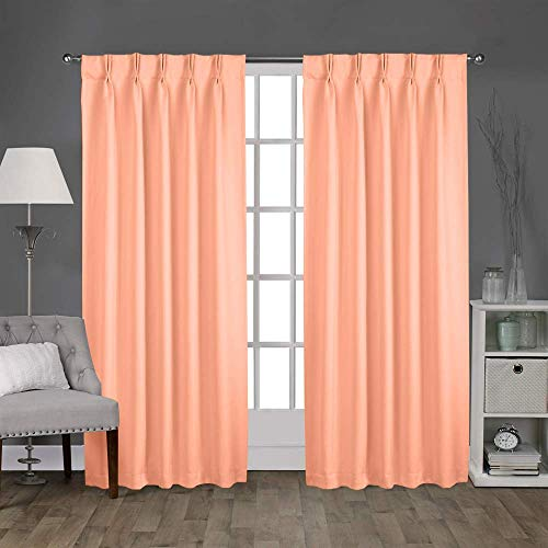 Magic Drapes Thermal Insulated Blackout Curtains 63 inch for Bed Room and Home Decor (2 Panels,42x63,Peach)