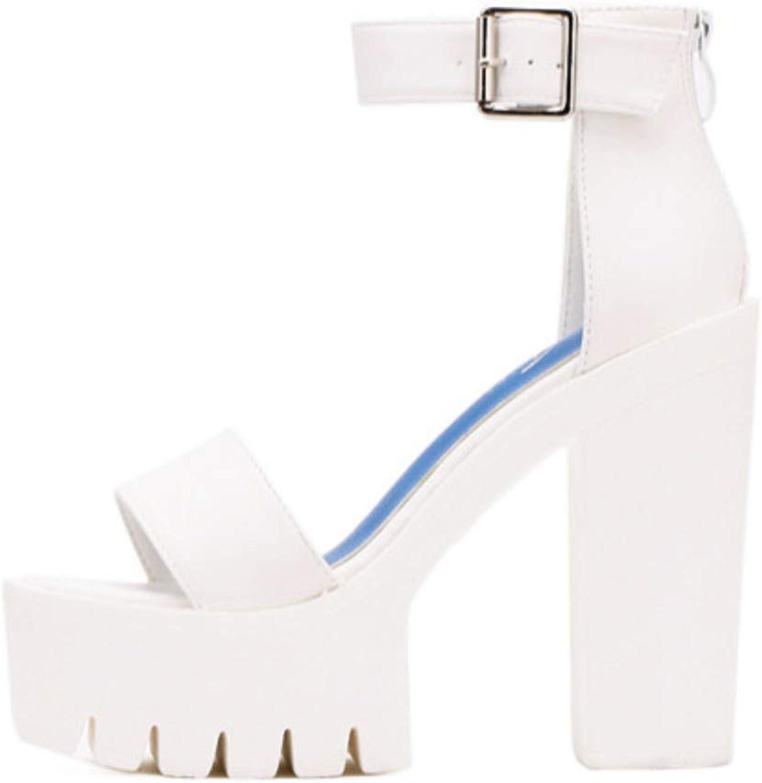 JQfashion White Summer Sandal shoes for Women Arrival Thick Heels Sandals Platform Casual shoes