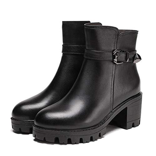 Botas de invierno para mujer,Botas de algodón para caminar al aire libre Botas de cuero de moda con forro de lana,Black- 36.5/UK 4/US 6