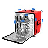 SEAAN Bolsa aislante para entrega de alimentos de 35L, 39 x 34 x 40 cm Mochila Impermeable Reutilizable Portador de comida para pizza Bolsa de supermercado portátil fría y caliente (rojo)