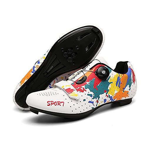Zapatillas De Ciclismo Unisex, Zapatillas De Bicicleta De Carretera Y MTB Graffiti, Spin Shoestring Compatible SPD Look Delta Cycle Riding Cleat (White,46 (EU 46 1/3))