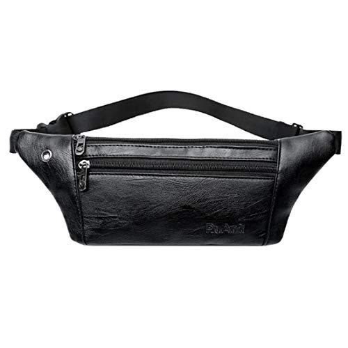 ZHANGYANTY Hüfttasche Herren PU-Leder-großer Kapazitäts-Multifunktions-Kasten-Beutel im Freien Wasserdichten Umhängetasche, for Sport-laufende (Color : Black)