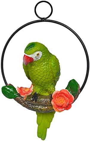 Vivid Hanging Popular Parrot Statue Perch on Model Lawn 35% OFF Ring Metal Birds
