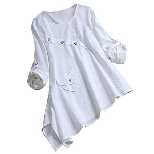 KYBA Camiseta asimétrica de verano 2021, de manga larga, abotonada, informal, holgada, talla grande