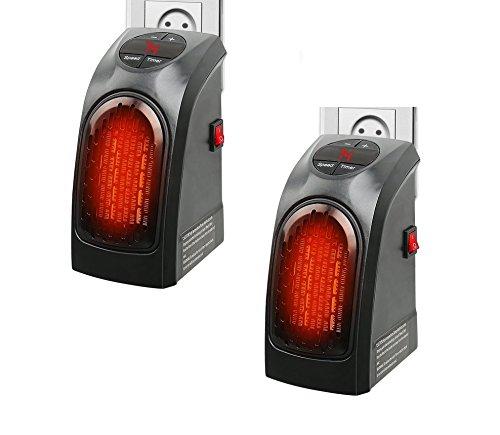takestop Set 2 Pezzi Stufa ELETTRICA 350W o 400W Modello/Potenza Casuale Handy Fast Portatile Spina Presa ELETTRICA Regolabile Heater da 15 A 32 Gradi Basso CONSUMO Bagno CASA Ufficio