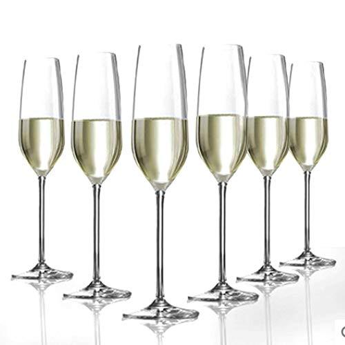 Copa de Champán Cristal Para Cocina, Juego Copas Cristal Premium Sin Plomo Soplado Mano Copa Cóctel Vino Tinto Juego Vino con Personalidad Creativa Moderna Regalo Para Bodas,6 pieces