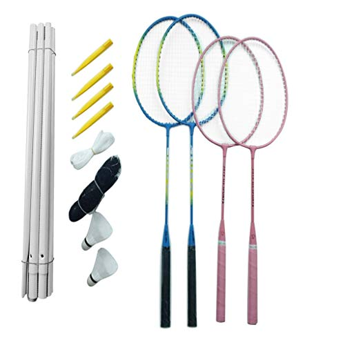 CUEYU Badmintonschläger-Set für Erwachsene Kinder, 4 Personen Badminton-Set mit Netz für Garten Strand, Speed Badminton Schläger Set Federballset (C)