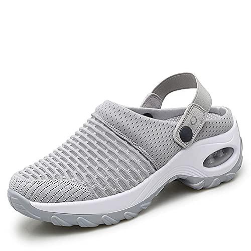Ladies sommar sandaler med hålfotsinlägg Lätt gymnastikskor andas mesh flyga vävda kil tofflor utomhus stranden fritid promenadskor,Gray,37