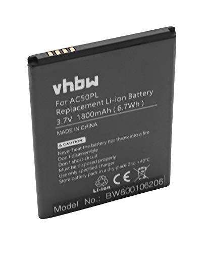 vhbw Li-Ion Akku 1800mAh (3.7V) für Handy, Smartphone, Telefon Archos 50, 50 Platinum wie AC50PL