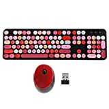 ASHATA Combo de Teclado y Mouse inalámbricos, Juego de Mouse de Teclado Punk inalámbrico Retro Office Gaming Accesorios de computadora universales para computadora portátil PC(Rojo)
