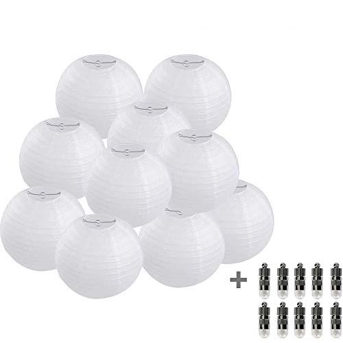 FullBerg 10er 30cm weiß Papierlaterne Lampions mit 10er Warmweiße Mini LED-Ballons Lichter, rund Lampenschirm Hochtzeit Party Dekoration Papierlampen 12